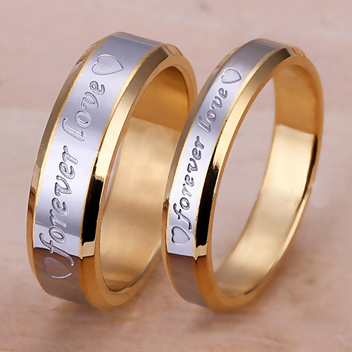 Women Men Forever Love Band Ring Engagement Engraving Couple Promise Gold Color RING-003 ...