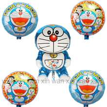 (5pcs/lot) foil balloons mixed four round doraemon balloon and irregular large helium for kid toys party supply