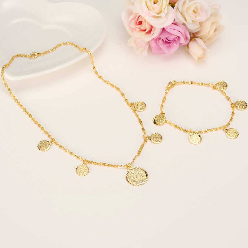 45CM Coin Necklaces 21cm bracelet  for Women gold Money Sign Chain Great Money Maker Gifts Islam Muslim Ancient Coin Jewelry