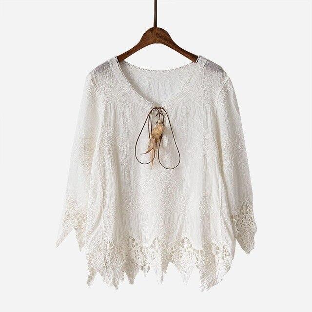 Estilo bohemio Encaje camisa mujeres blusa Encaje ganchillo Plumas ...