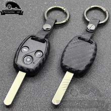 Carbon fiber texture Silicone car key case for Honda cr-v fit accord civic JAZZ pilot 2 3 buttons remote control starline