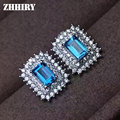 ZHHIRY Natural Blue Topaz Stone Earring Genuine Solid 925 Sterling Silver Actual Gems Earrings Women Fine Jewelry