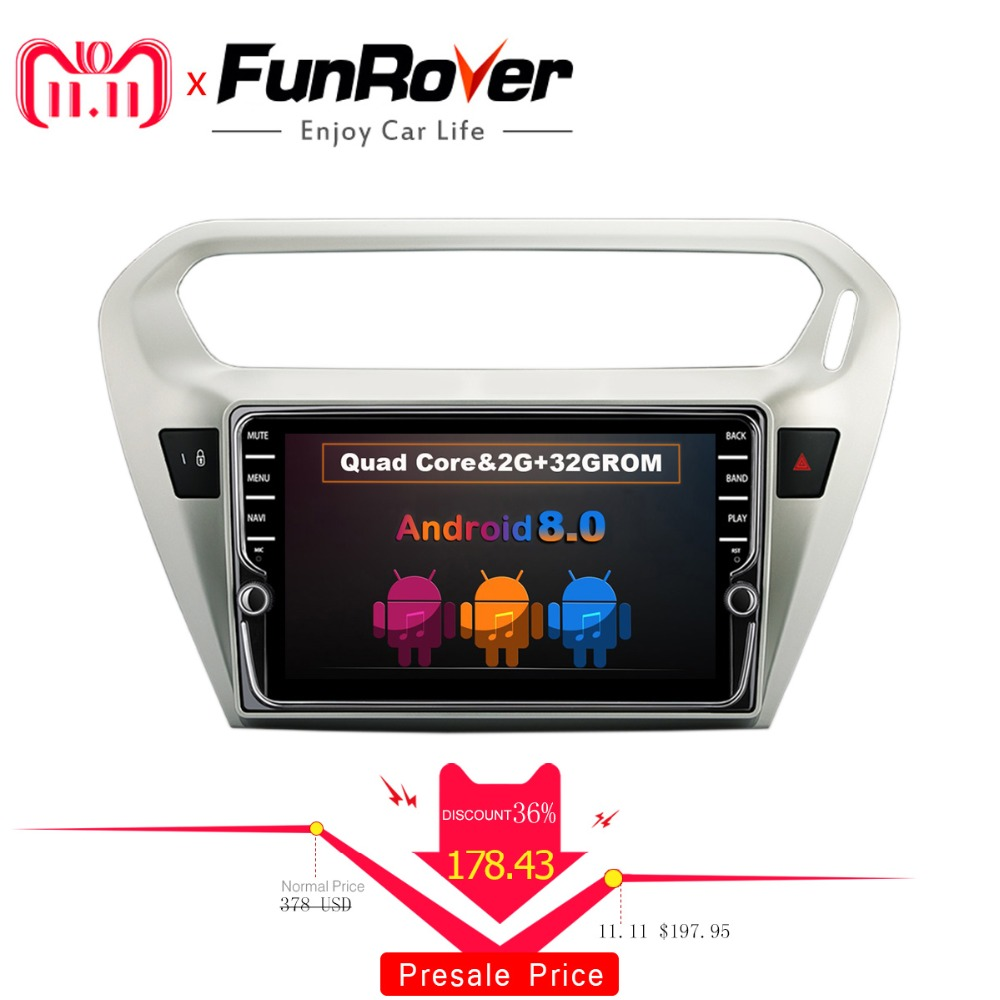 Funrover 8 IPS Android 8.0 2 din Car radio DVD multimedia Player for Citroen Elysee/ Peugeot 301 2014-2017 gps navi stereo wifi funrover ips 8 2 din android 8 0 car dvd player for kia sportage 2016 2017 kx5 gps navigation car stereo headunit wifi bt navi