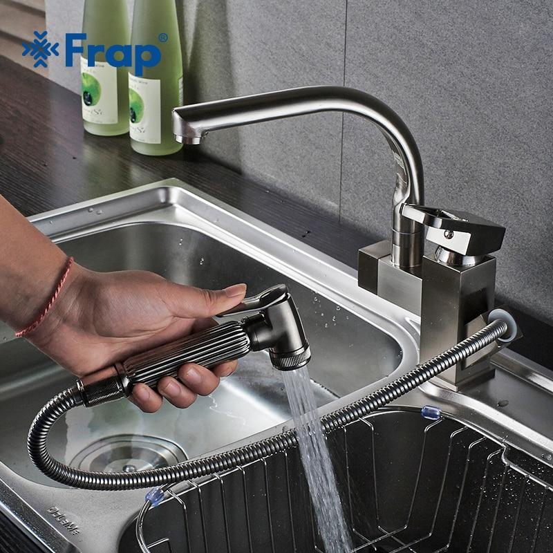 Frap Kitchen Faucets Pull Out Shower Sprayer Deck Mount Sink Vessel Kitchen Sink Faucet Dual Spout For Kitchen Mixer Taps Y40058