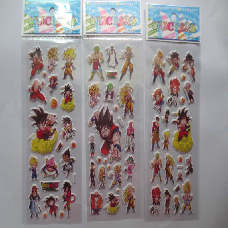 6 Sheets/set Dragon Ball Z Stickers For Kids Room Wall Decor Cartoon Dragonball Mini 3D Sticker Toys Laptop Scrapbooking Doodle