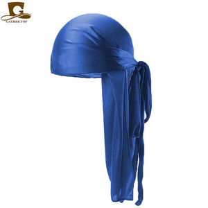 Image 2 - Wholesale Durag Men Solid Color Silk Durags Women Breathable Turban Fashion Hair Bands 13Pcs/package