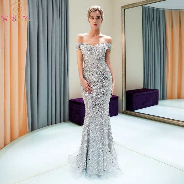 Silver Evening Dresses Walk Beside You 2019 High-end Beaded Sequined Bling Sparkle Mermaid Off Shoulder Sweetheart Prom Gowns