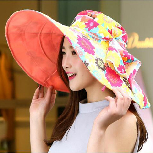 ef5d90a2819 2016 Summer large brim beach cap sun hats for women UV protection hat with  big heads foldable style fashion lady s sun hat girl
