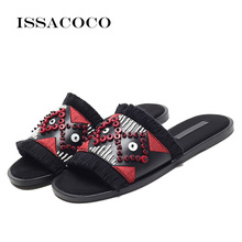 ISSACOCO Summer Womens Fashion String Bead Slippers Flats Mules Lady Sandals Women Outdoor Slipper Home