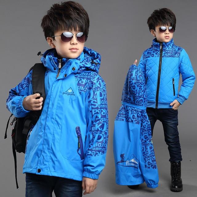 Kış erkek dış rüzgar geçirmez sıcak ceketler çocuk pamuk astar üçü bir arada giyim ve mont çocuklar su geçirmez baskı ceket
