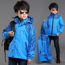 Winter Boys Outside Windproof Warm Jackets Children Cotton Lining Three in one Outerwear & Coats Kids Waterproof Printing Jacket