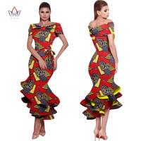 BRW African Wax Print Dresses For Women Bazin Riche Cotton Party Wedding Ruffled Dress Dashiki Plus