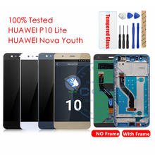 100% Original Huawei P10 Lite LCD Display + Frame 10 Touch Screen Nova Youth LCD Digitizer Touchscreen Replacement Repair Parts