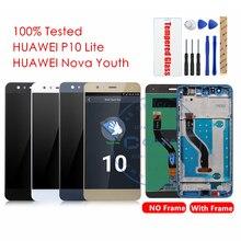 100% Original Huawei P10 Lite pantalla LCD + marco 10 pantalla táctil Nova Youth LCD digitalizador pantalla táctil piezas de repuesto