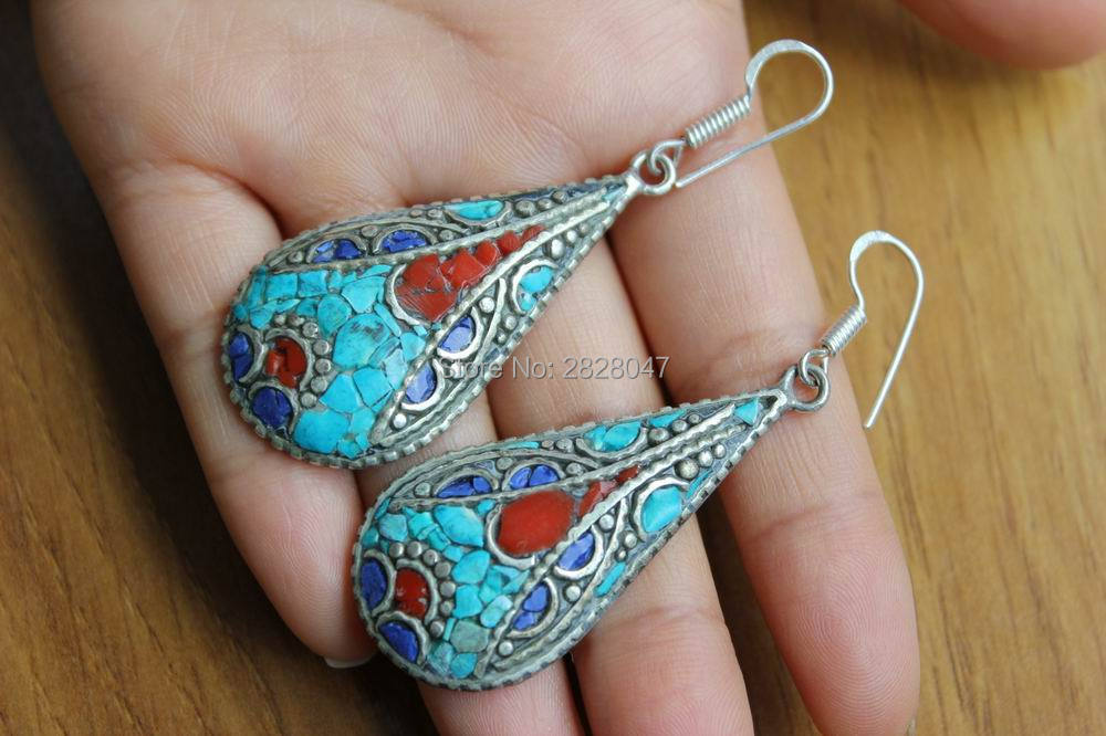 ER157 Tibetan Silver Colorful Stone Water Drop Women Earrings India Nepal Handmade Ethnic Girls Earrings bocai silver makeup india nepal bali silver acts the role of by hand rainbow blue moon stone ring