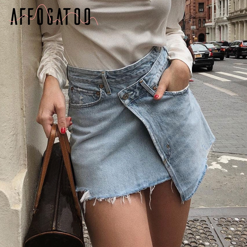 Affogatoo Sexy Fashion Denim Short Skirt Women Casual Summer Mini Jeans Skirt Female Asymmetrical High Waist Ladies Skirts 2019
