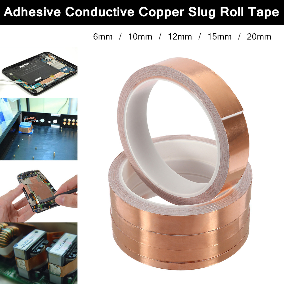 10m 6mm/10mm/12mm/15mm/20mm Single-sided Adhesive Conductive Copper Foil Tape Guitar Pickup EMI Shield Eliminate EMI Anti-static запчасти для автоматических столов emi