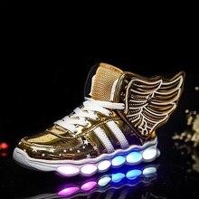 Детская Обувь с подсветкой светящиеся Обувь мальчики девочки зарядка через USB Спортивная обувь повседневная LED Обувь USB крыло дети светящиеся Кроссовки