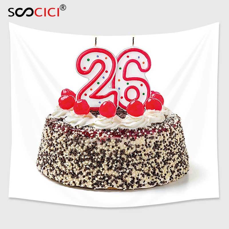 Pleasing Cutom Tapestry Wall Hanging 26Th Birthday Decorations Yummy Cake Funny Birthday Cards Online Necthendildamsfinfo