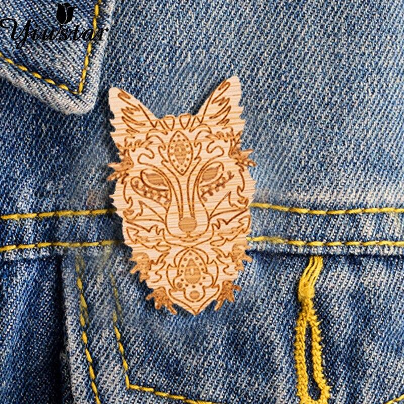 Gewijd Yiustar Rustieke Vos Gezicht Pin Mandala Revers Pin Fijne Woodland Boho Vos Broche Vrouwen Meisjes Jewelries Decoratie Badge Voor Kleding