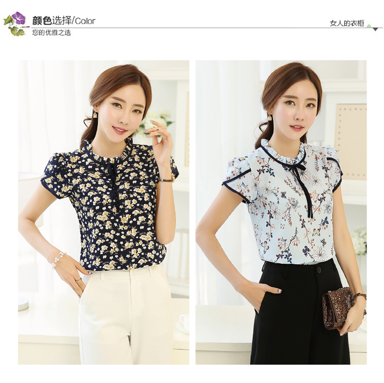 HTB1af5UPVXXXXaxXpXXq6xXFXXX3 - Summer Floral Print Chiffon Blouse Ruffled Collar Bow Neck Shirt