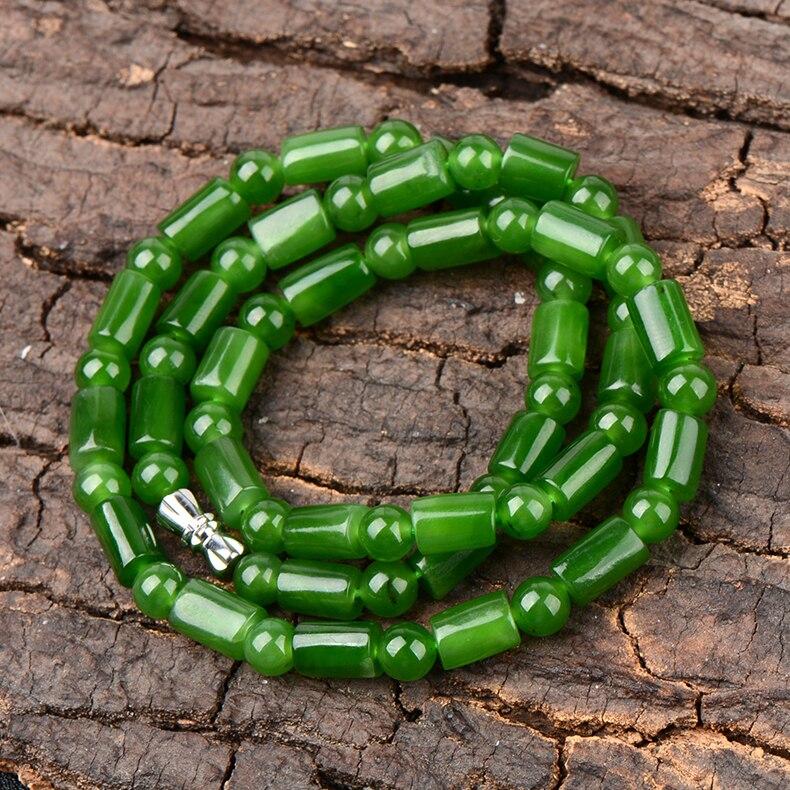 Хотан yu ведро ожерелье из бисера для женщин в возрасте шпинат зеленый цепи природных yu лед под пояс сертификат/