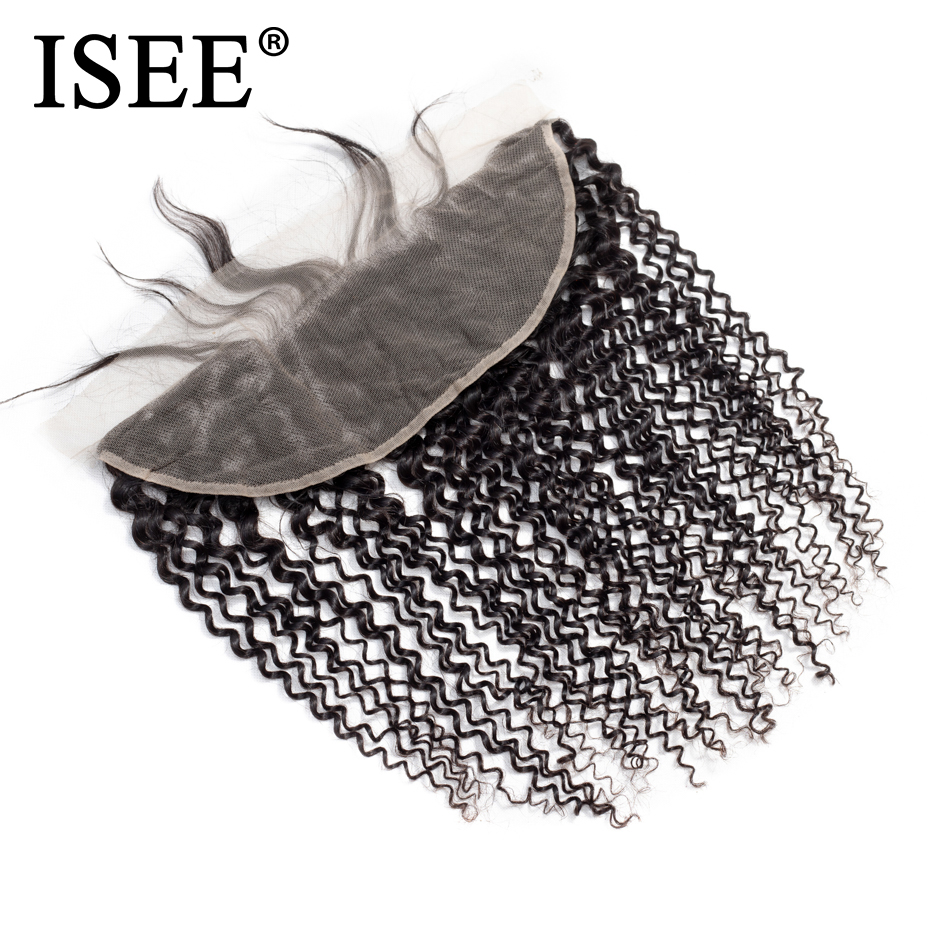ISEE HAIR Malaysian Kinky Curly Lace Frontal Closure 13*4 Swiss Lace Hair Extension Remy ...