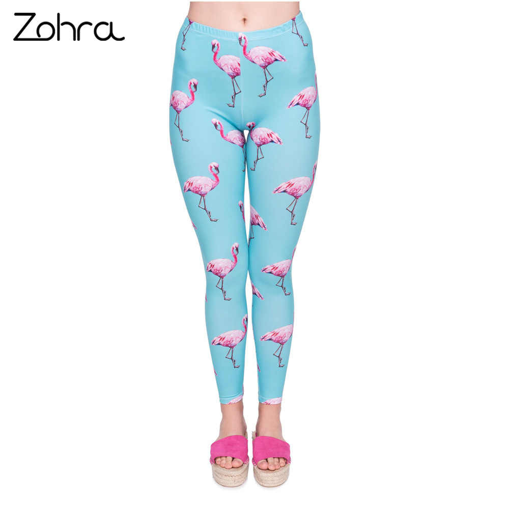 Zohra New Fashion Women   Legging   Cyan Flamingo Printing   Leggings   High Quality High Waist Woman Pants