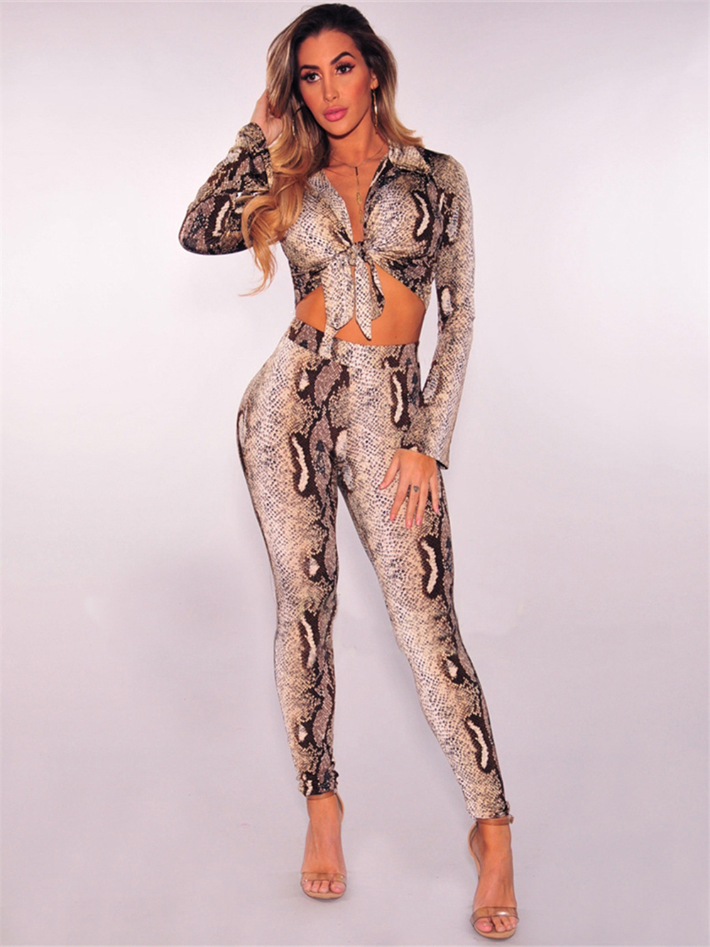 2018 New Summer Women Bandage Set Leopard Printed Top amp Jumpsuit 2 Two Pieces Set Evening Party Club Women Set in Women 39 s Sets from Women 39 s Clothing