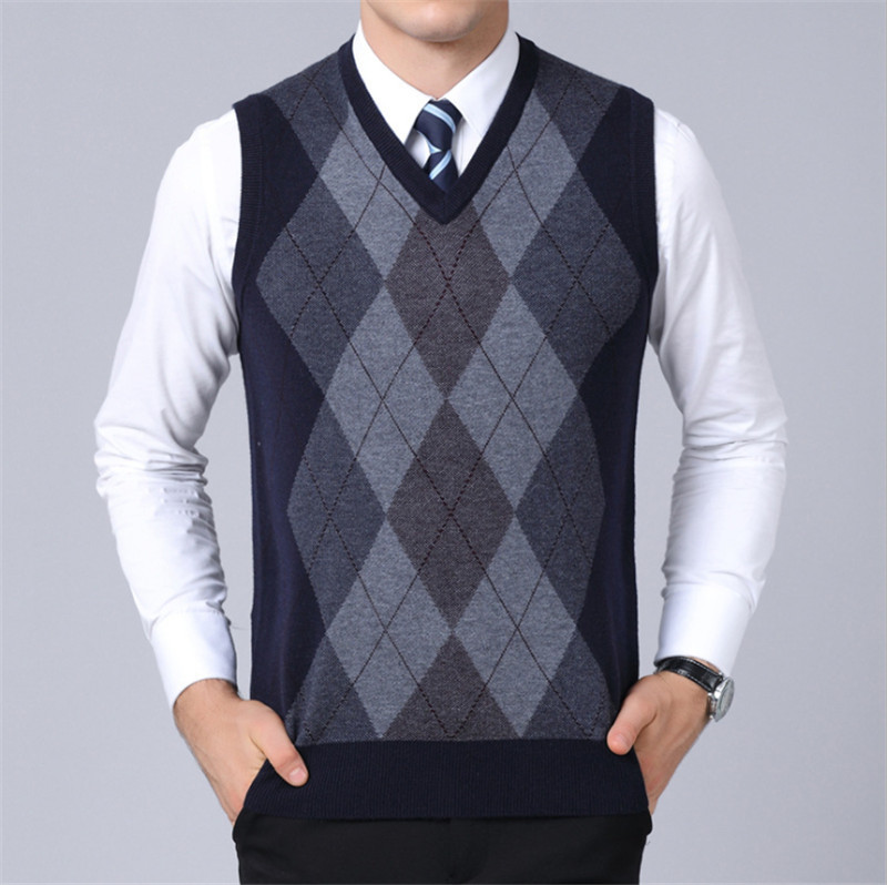 Men Sweater Autumn & Winter Coat Male Sleeveless Pullover V-Neck Jacket Gentleman Slim Fit Casual Knitted Woolen Sweaters Vest