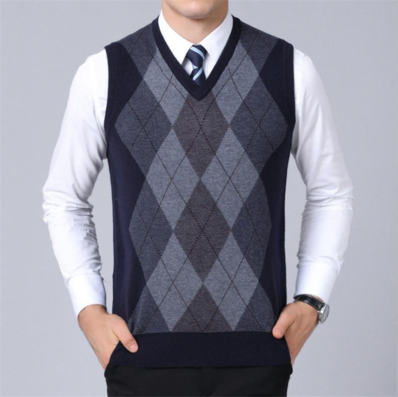 Men Sweater Autumn & Winter Coat Male Sleeveless Pullover V-Neck Jacket Gentleman Slim Fit Casual Knitted Woolen Sweaters Vest