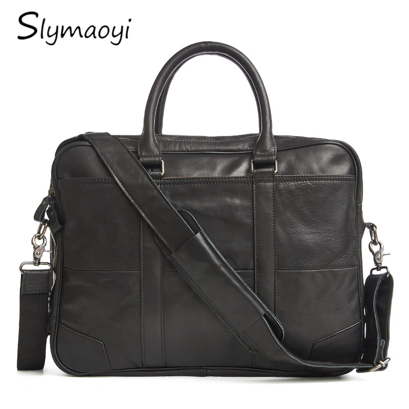 Slymaoyi Business Genuine Leather Men Briefcase Cowhide Men's Messenger Bags 14