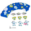 Free shipping Baking DIY 36sets Space ships Paper Cupcake Toppers+Wrap rockets Kids Baby Infants Gifts Party Decoration Supply