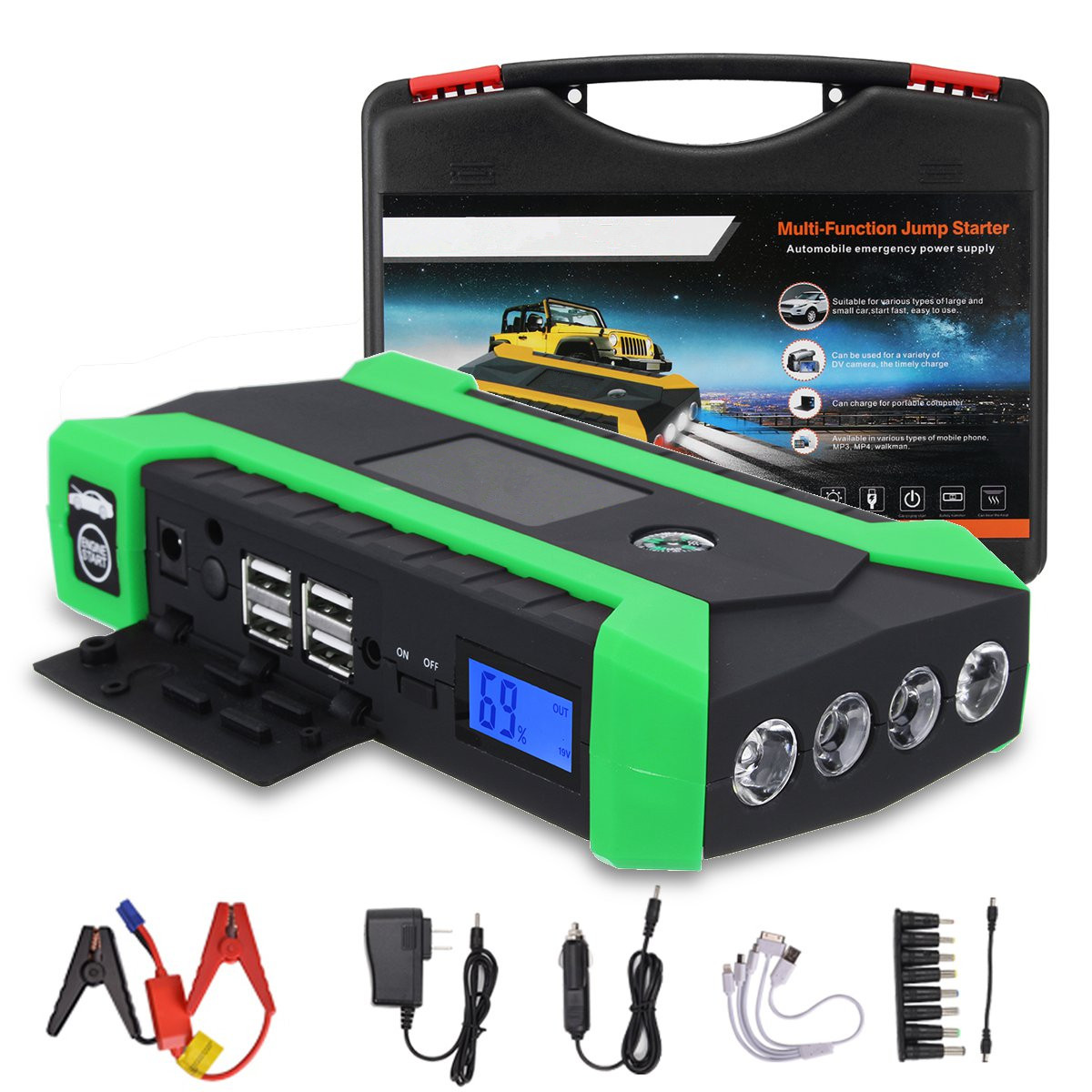 89800mAh 600A 12V 4USB Car Jump Starter Portable Car Battery Booster Charger Booster Power Bank Starting Device Car new 12v 89800mah portable 4usb car jump starter power bank tool kit booster charger battery automobile emergency led light