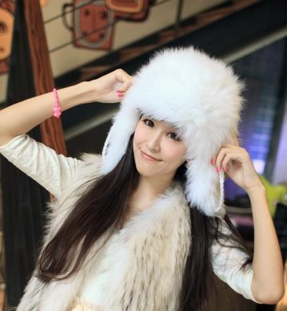 H47~ gray/white/brown autumn and winter knit warm cap with natural  fox fur  ,women's luxury bomber hat ,fur earflap hat