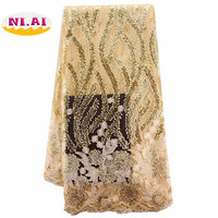 2017 Latest French Nigerian Laces Fabrics High Quality Tulle African Laces Fabrics Wedding African French Tulle