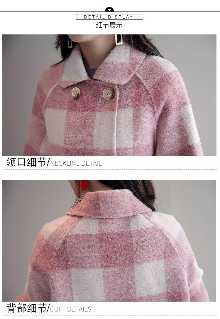 La W566 D'hiver À Élégant pink Femme Collar Mode Laine Plaid Lkghulo Manteaux Droite down Turn Femmes Vêtements Blue Vintage zqS8WcfFa