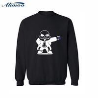 Alimoo Cute Cartoon Skeleton Pattern Mens Hoodies And Sweatshirts 2016 Black Gray Streetwear Sweatshirt Men Luxury