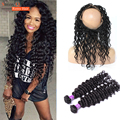 Peruvian Deep Wave Pre Pucked 360 Lace Frontal Closure with Human Hair Weave Bundles 7A Grade 360 Lace Frontal with Bundle