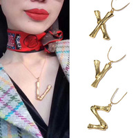 2018 new arrival luxury exaggerated metal 26 letter necklace fashion lava alphabet necklace for men and women