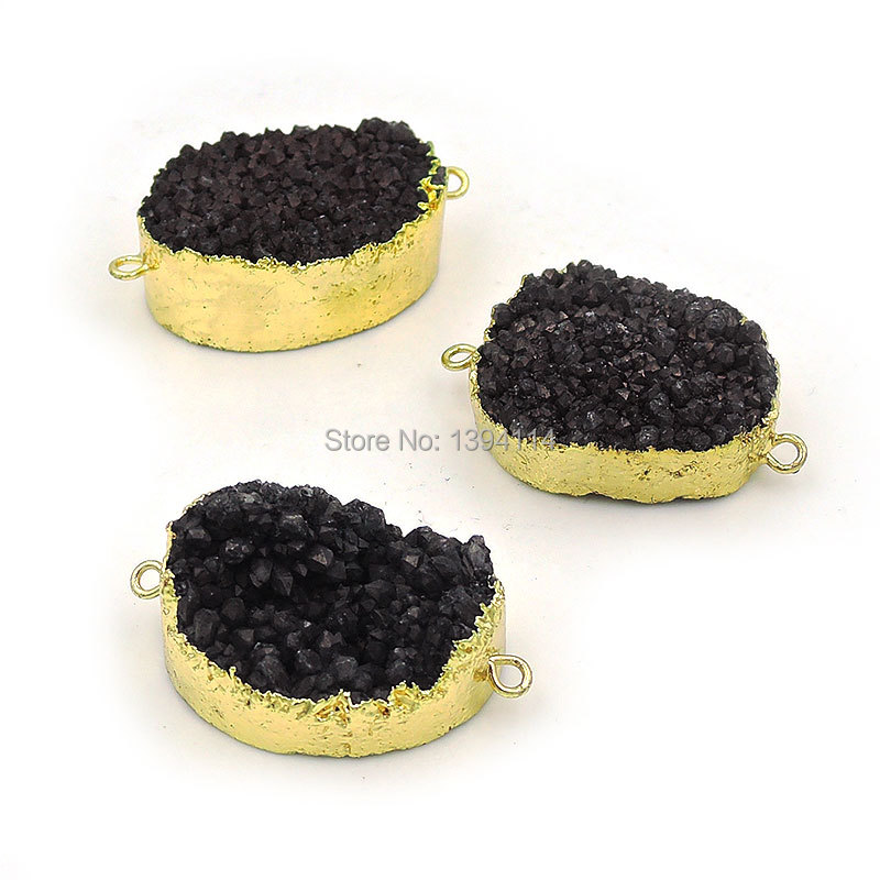 Black Crystal Cluster Oval Connector Of 24k Gold Cladding Approx 30*20 mm