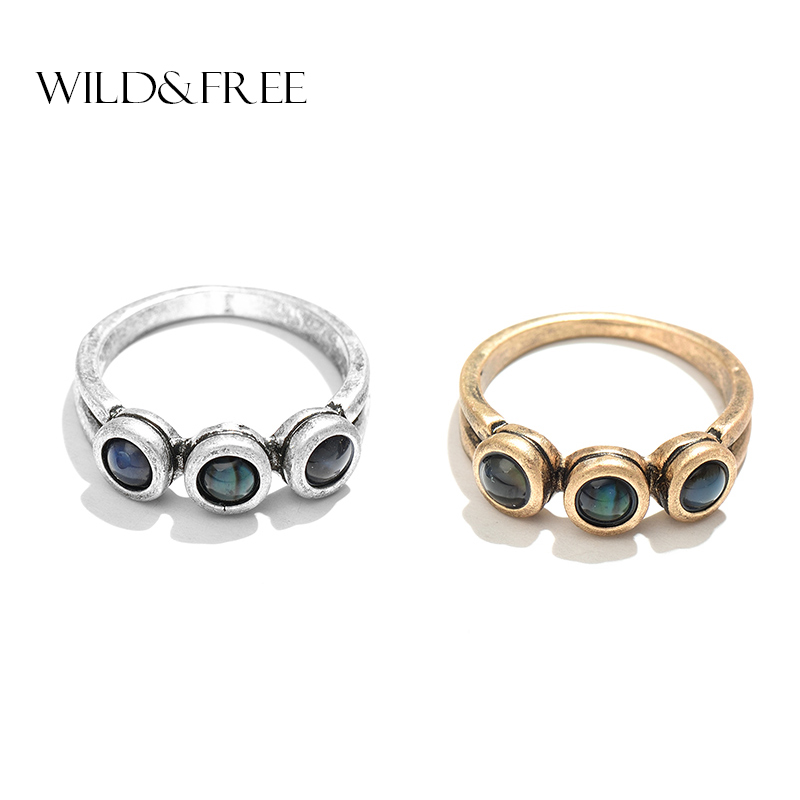 New Arrival Hot Vintage Knuckle Ring Jewelry With Round Shell Antique Gold Alloy Women Ring Retro Jewelry Gift
