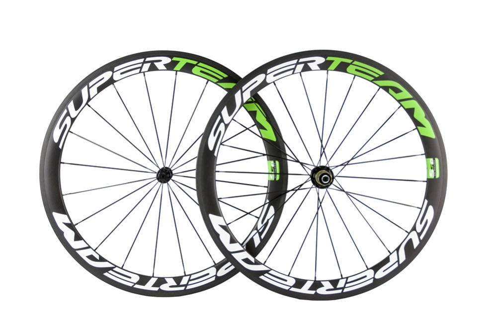 1Sets of carbon clincher wheelset 50MM bicycle wheels 700c with decal road bike wheelset 3K weave