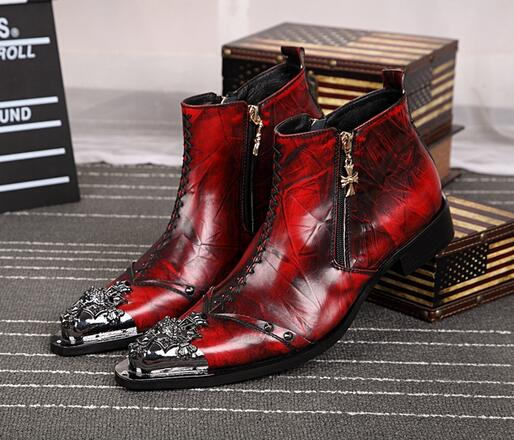 Handsome Men Red Metal Pointed Toe Ankle Boots Top Leather Boots Prom Dress Shoes Creepers For Mens Business Dress Shoes