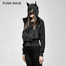 PUNK RAVE Women New Fashion Punk Rock Jacket Gothic Black Bat Loose Hooded Casual Daily Long Sleeve Coat
