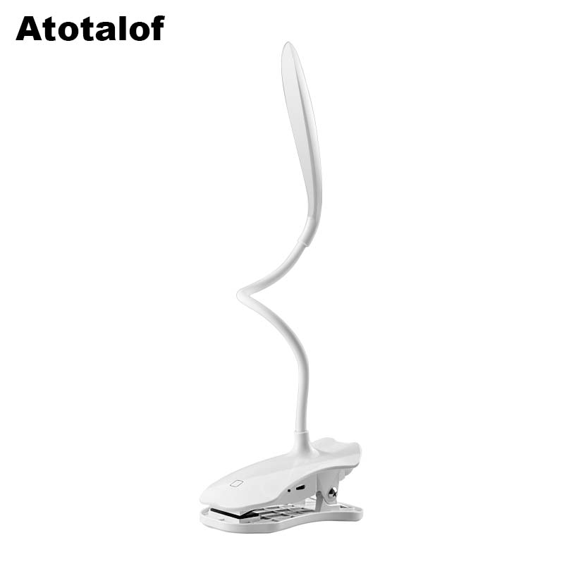 Atotalof LED Read Desk Light 5W Touch Switch Flexible Lamp 5V USB Rechargeable Clip Table Lamp Eyes-Protection wedge Clip light