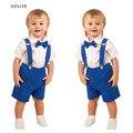 Moda sólidos manga curta de verão 2016 das Crianças set camisetas e macacões menino formal do partido Ternos roupas 2 pcs com bowknot