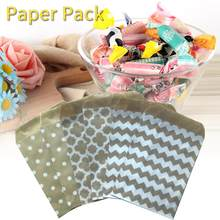 100pcs/ Lot Candy Bag High Quality Party Favor Paper Bags Chevron Polka Dot Stripe Printed Paper Craft Bags Bakery Bags Dropship(China)