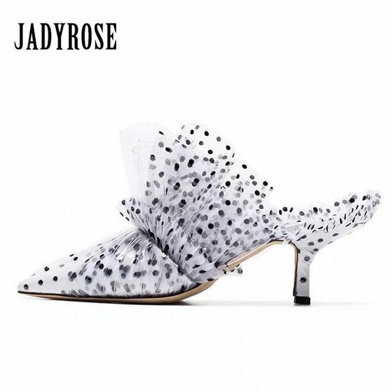 Jady Rose Fashion Pointed Toe Women Pumps Summer High Heel Slippers Gladiator Sandals Ruffled Mules Outside