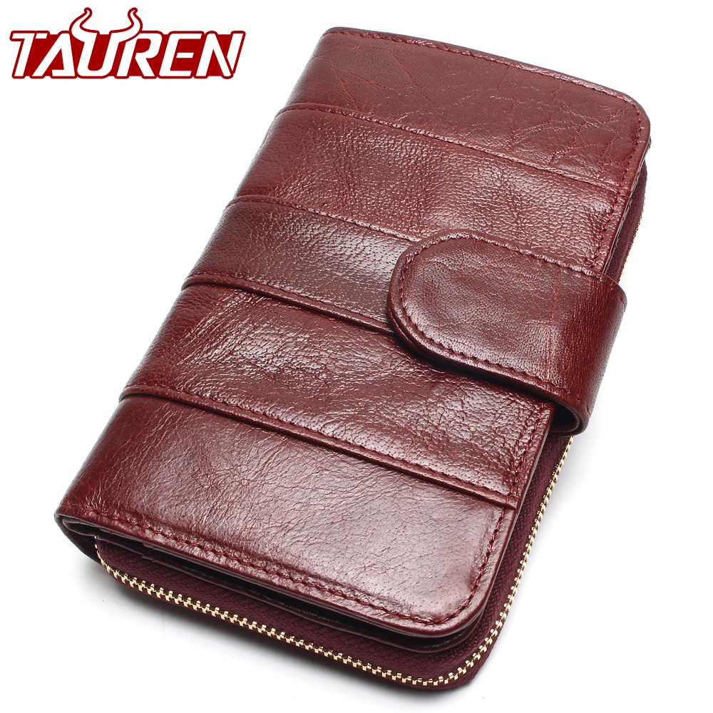2018 New Style Layer Of Import Oil Wax Cowhide Medium Paragraph Buckle Leather Wallet Women's High Quality Purse high quality 2017 new style layer of import oil wax cowhide medium paragraph buckle leather wallet men s purse